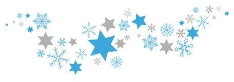 Azul Gray Snowflakes Stars Flat Banner de la Navidad libre illustration