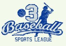 Azul impresión apenada mediados de béisbol con el jugador stock de ilustración