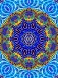 Azul indiano do teste padrão colorido do caleidoscópio Fotografia de Stock