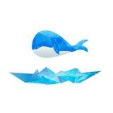 Azul isolado do projeto do polígono dos vetores baleia abstrata Fotografia de Stock Royalty Free