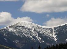 Azul mínimo do verde da neve da floresta somente do céu e da montanha da forma da montanha Fotografia de Stock Royalty Free