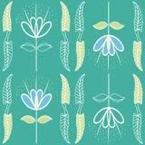 Azul macio inacabado tirado mão e design floral verde no estilo do art nouveau Teste padrão sem emenda do vetor em vibrante ilustração stock