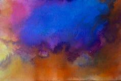 Azul moderno acrílico da arte contemporânea do sumário sobre a laranja imagens de stock royalty free