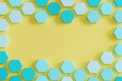 Azul monótono colmena-como hexágonos en fondo amarillo ilustración del vector