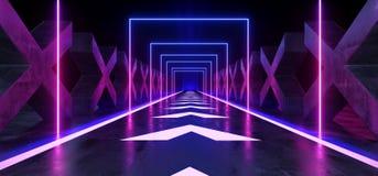 Azul púrpura formado X concreto de la trayectoria moderna futurista oscura de Hall Reflective Neon Glowing Sci Fi del túnel del p stock de ilustración