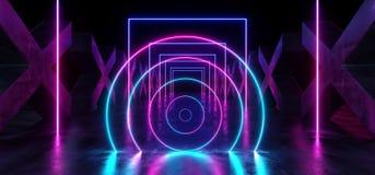 Azul p?rpura formado X concreto de la trayectoria moderna futurista oscura de Hall Reflective Neon Glowing Sci Fi del t?nel del p ilustración del vector
