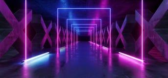 Azul p?rpura formado X concreto de la trayectoria moderna futurista oscura de Hall Reflective Neon Glowing Sci Fi del t?nel del p stock de ilustración