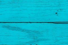 Azul, placas de turquesa, parede ou cerca de madeira natural connosco Fundo textured sumário Pranchas horizontais de madeira pint Fotos de Stock Royalty Free