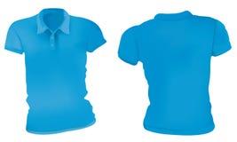 Azul Polo Shirts Template das mulheres Fotografia de Stock