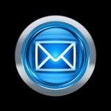 Azul postal del icono del sobre con el ribete metálico Fotografía de archivo libre de regalías