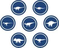 Azul profundo ajustado do emblema redondo do dinossauro Foto de Stock Royalty Free