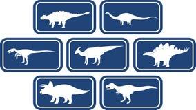 Azul profundo ajustado do emblema retangular do dinossauro Fotografia de Stock