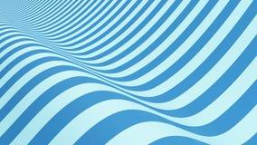 Azul rayado Forma ondulada, ilusión óptica Modelo abstracto stock de ilustración