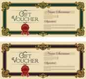 Azul real coloreado del vale de regalo y verde real Fotos de archivo libres de regalías