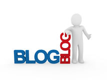 azul rojo del blog humano del hombre 3d Imagen de archivo