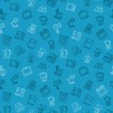 Azul sem emenda do esboço do teste padrão dos dispositivos Imagens de Stock