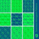 Azul sem emenda do verde de 9 testes padrões do monograma Imagens de Stock