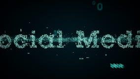 Azul social de las palabras claves binarias medios stock de ilustración