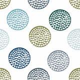 Azul, teste padrão sem emenda geométrico do verde com o às bolinhas do grunge no fundo branco Imagens de Stock