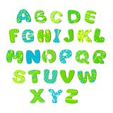Azul verde claro del alfabeto de los niños Imagen de archivo