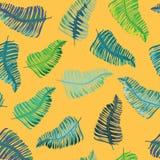 Azul, verde y modelo inconsútil de las hojas tropicales de la turquesa Ejemplo del vector en fondo anaranjado Fotos de archivo libres de regalías