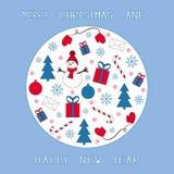 Azul, vermelho e branco do cartão de Natal Foto de Stock