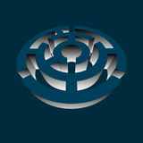 Azul volumétrico circular do jogo do enigma 3d do labirinto Imagem de Stock