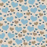 Azul y fondo de la repetición del modelo de la teja de los corazones de Brown Foto de archivo