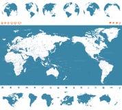 Azul y globos - Asia del mapa del mundo en el centro libre illustration
