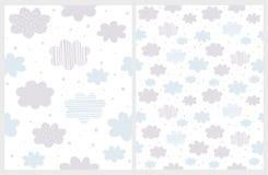 Azul y Gray Clouds abstractos mullidos con la lluvia de la forma de la estrella aislada en un fondo blanco ilustración del vector