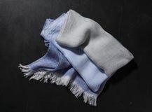 Azul y Gray Fringed Hand Towel Imagenes de archivo