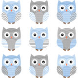 Azul y Grey Cute Owl Collections Foto de archivo