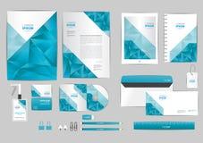Azul y gris con la plantilla de la identidad corporativa del triángulo para su negocio Imagen de archivo libre de regalías