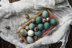 Azul, y huevos del blanco y del pollo y huevos de codornices en retro de madera Fotografía de archivo libre de regalías