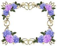 Azul y lavanda de la frontera de las rosas de la boda ilustración del vector