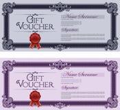 Azul y violeta coloreados del vale de regalo Imagen de archivo libre de regalías