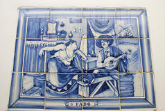 Azulejo. Is a form of Portuguese painted, tin-glazed, ceramic tilework Stock Images