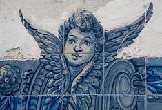 Azulejo with angel. A blue azulejo on a Lisbona's wall Stock Photos