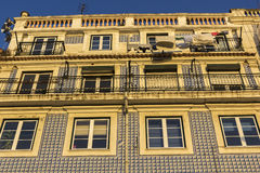Azulejo on building in Lisbon in Portugal Stock Images