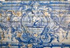 Azulejo in Coimbra - ich schlafe und mein Herz schützt mich Stockbild