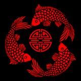 Azulejo de la laca con diseño de los pescados Fotos de archivo