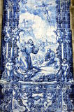 Azulejos on Capela das Almas in Porto, Portugal. Azulejo depicting Francis of Assisi Stock Images
