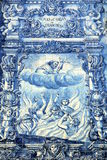 Azulejos on Capela das Almas in Porto, Portugal. Azulejo depicting Francis of Assisi Royalty Free Stock Photos