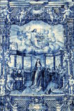 Azulejos on Capela das Almas in Porto, Portugal. Azulejo illustrating Catherine of Alexandria debating with the best pagan philosophers and orators of the Roman Stock Photos