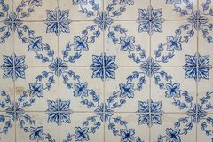 Azulejo in Lisbon. Close up on a house wall covered with traditional Azulejo tiles in Lisbon city, Portugal stock photography