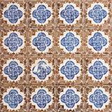 Azulejo med bruna fyrkanter och blåa blommor Arkivbilder