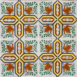 Azulejo with orange and green leaves Royalty Free Stock Images