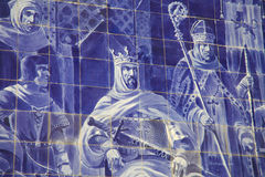 Azulejo panel in Sao Bento Railway Station in Porto Royalty Free Stock Photos
