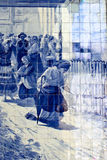 Azulejo panel in Sao Bento train station in Porto Royalty Free Stock Photo