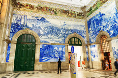 Azulejo panels on walls of main hall inside of the Sao Bento Rai Royalty Free Stock Photos